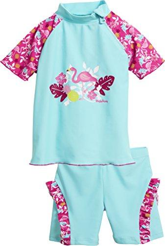 Playshoes Baby-Mädchen Badebekleidungsset UV-Schutz Bade-Set Flamingo, (Türkis 15), 74 (Herstellergröße: 74/80)