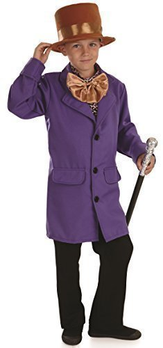 Jungen Willy Wonka Charlie and the Schokoladen Fabrik Buch Tag Reich Viktorianisch Kostüm Kleid Outfit 4-12 jahre - Lila, Lila, 8-10 Years (Willy Wonka Kostüme Für Kinder)