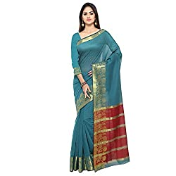 Bhuwal Fashion Womens Cotton Silk Saree With Blouse Piece (ABCBF104000_Blue_Free Size)