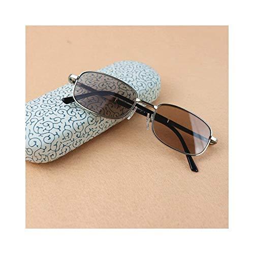 Easy Go Shopping Klassische Full-Frame-Brillen, Vintage Brillen klare Linse für Männer. Sonnenbrillen und Flacher Spiegel (Farbe : Brown+2.50)