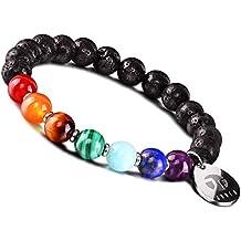 JOXFA Natural Genuine 7 Chakra Edelstein Männer Frauen 8mm Lava Rock Aromatherapie Ätherisches Öl Diffusor Armband Elastische Naturstein Yoga Perlen Armband