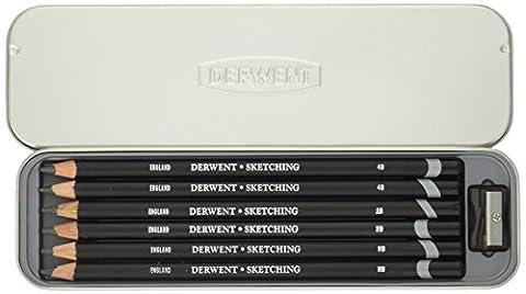 Derwent Sketching Graphite Pencils Tin with Sharpener (Set of 6)