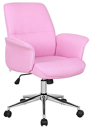 SixBros. Bürostuhl Drehstuhl Schreibtischstuhl Stoff Pink 0704M/3673