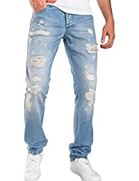 Redbridge Herren Ripped Straight Cut Jeans Hose Distressed Style Helle Waschung