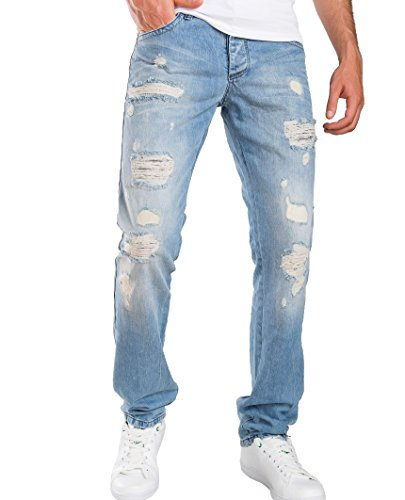 Redbridge Herren Ripped Straight Cut Jeans Hose Distressed Style Helle Waschung Hellblau