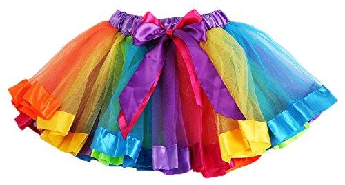 Hemore - Vestido de Ballet para niñas, diseño de tutú arcoíris, rainbow1, Medium