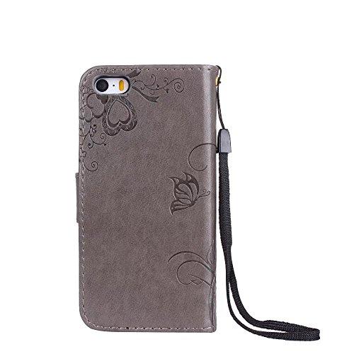 Horizontale Bookstyle Flip Case Premium PU Ledertasche, Solid Color Embossed Blumen Schutzbrieftasche Case Cover mit Lanyard & Stand für iPone 5 & 5s & SE ( Color : Modena ) Gray