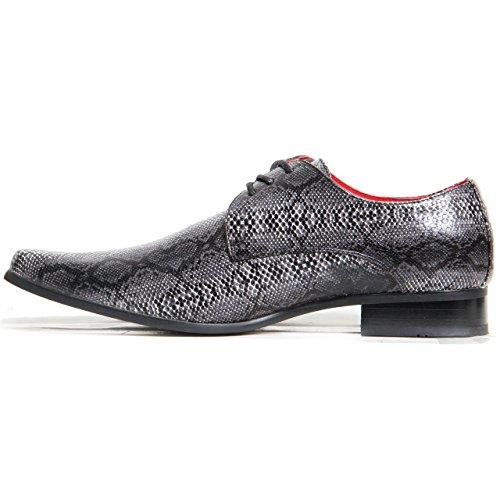 Hommes À Lacets Élégantes Faux Peau De Serpent Chaussures Bout Pointu Cuir Véritable Doublure Noir