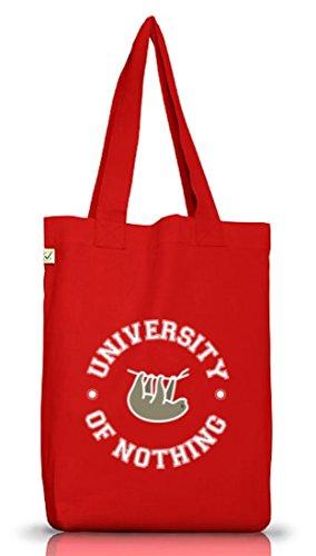 Faultier Jutebeutel Stoffbeutel Earth Positive mit University Of Nothing Motiv Red