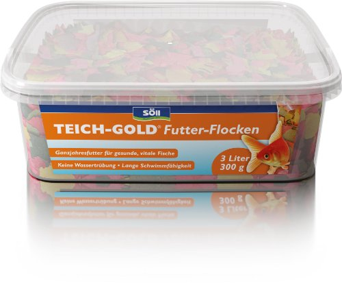 Söll 14700 Teich-Gold Futter-Flocken - Alleinfuttermittel für alle Teichfische - schwimmfähige Teichflocken - 3l