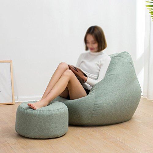 2 pièces haricot sac tabouret chaise longue canapé chaise longue unique petit appartement chambre Creative amovible et lavable (Couleur : Vert clair, taille : L)