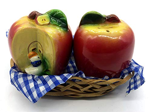 Shopster Small 'Cute Apple Shaped' Dining Table Salt and Pepper Shakers, 2 Pieces, Green and Red with Basket