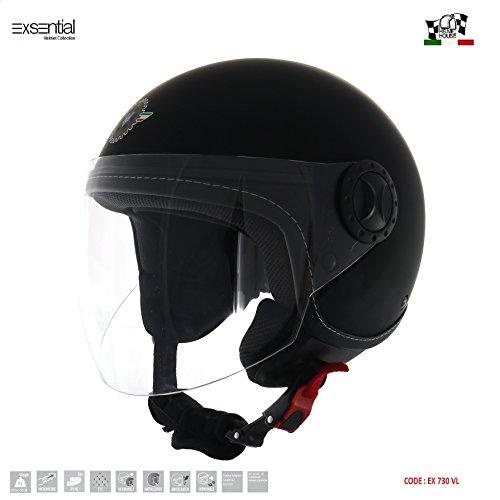 Exsential – EX 730VL – Casco Demi-Jet, color negro mate para scooter y moto, talla XL
