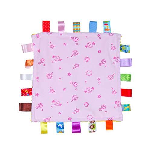 Baby Girl rose Tag Blanket de sécurité, Super Soft Balises Blankie, Consolateur sécurité avec coloré Balises meilleur cadeau pour enfant Tout-petit Enfant