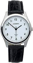 Comprar Reloj De Hombre Reloj de pulsera analógico reloj acero inoxidable reloj plateado con pulsera de piel Negro Adora 28405