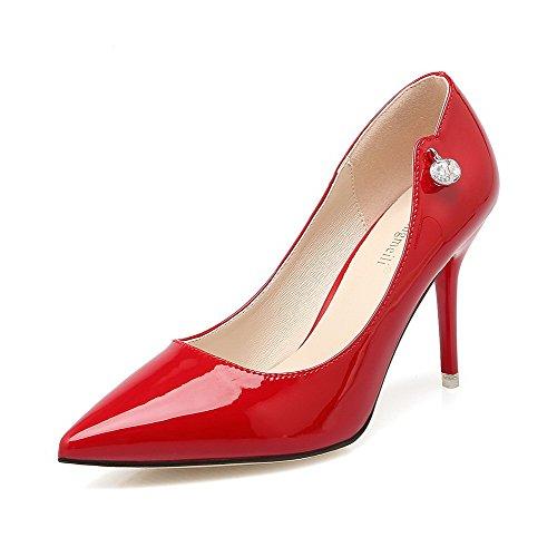 AalarDom Femme à Talon Correct Pointu Tire Couleur Unie Chaussures Légeres Rouge-Comme Les Bijoux Gros