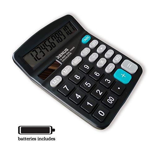 RENUS Standard Taschenrechner 12-stelliger Tischrechner Dual-Power (Solar und Batterie),Schwarz