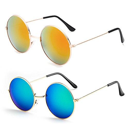 Mangotree 2 Paar Unisex Erwachsener Sonnenbrille Hippie Kleine Linse Runde Sonnenbrille für Mädchen & Jungen (3 ~ 12 Jahre Alt) UV Schutz (Free Size, Erwachsener(Blaues Grün + Lila Rot))
