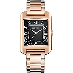 Blenheim London® B3180 Curve Rose Gold Watch Black Roman Numeral with Silver Hands with Stainless Steel Strap