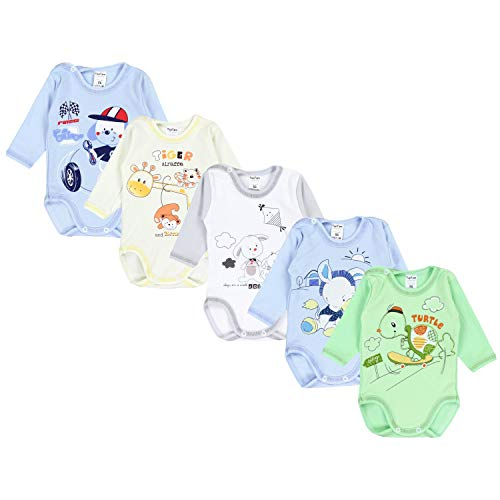 TupTam Unisex Baby Langarm-Body mit Aufdruck 5er Set, Farbe: Junge, Größe: 86