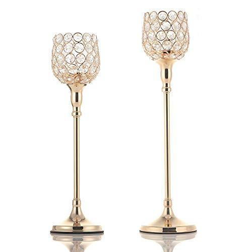 (VINCIGANT Weihnachten Gold Crystal Kerzenhalter Kerzenständer 2er Set für Jubiläumsfeier/Kaffeetisch/Moderne dekorative Mittelstücke)