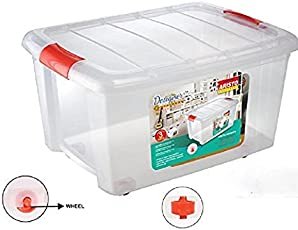 Multipurpose Storage and Toy Box with Lid, 50 Litres, Transparent