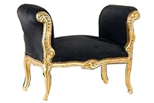 Casa Padrino Barock Schemel Hocker Schwarz/Gold - Sitzbank