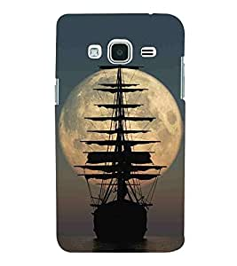 For Samsung Galaxy J2 (2016) :: Samsung Galaxy J2 Pro (2016) beautiful moon ( beautiful moon, boat, ship, river, sea, blue background ) Printed Designer Back Case Cover By CHAPLOOS