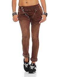 SKUTARI - Jeans - Imprimé Aztèque - Femme Marron marron Small
