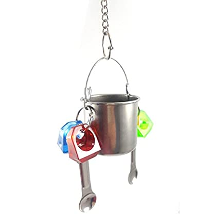 KaariFirefly Birds Parrots Stand Hanging Stainless Steel Food Cup Holder Swing with 2 Spoons - Random Color L 8