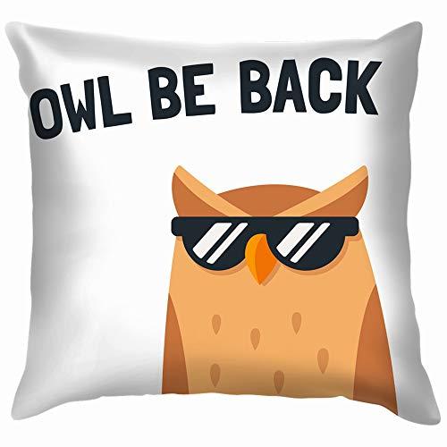 Funny Cartoon Owl Sunglasses Text Animals Wildlife Soft Cotton Linen Cushion Cover Pillowcases Throw Pillow Decor Pillow Case Home Decor 18X18 Inch
