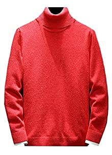 efdf435b218 cfzsyyw Mens Casual Slim Solid High Neck Knitted Pullover Sweaters Red XL