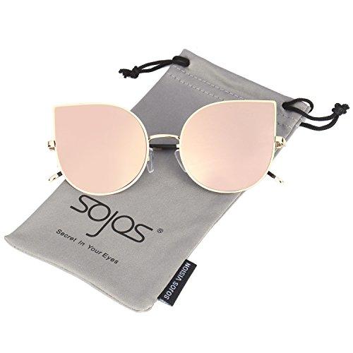 Fashion Retro 80s (SojoS Cateye Damen Sonnebrille Mirrored Ultra Thin Ultra Light Metal Frame Women Sunglasses SJ1022 mit Rosa)