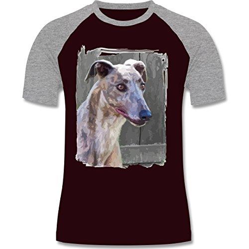 Hunde - Windhund - zweifarbiges Baseballshirt für Männer Burgundrot/Grau meliert