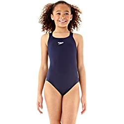 Speedo Girls Essential Endurance+ Medalist Swimsuit, Blue, 30 inch