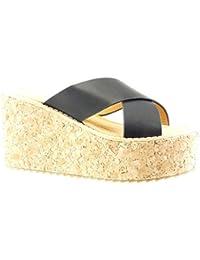 c08807263ec458 Angkorly - damen Schuhe Mule Sandalen - Plateauschuhe - Kork - String Tanga  Keilabsatz high heel