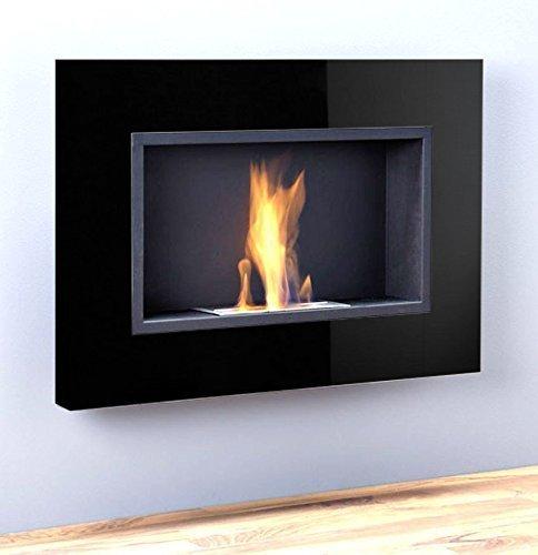 luxus kamin bio ethanol gelkamin wandkamin chemine schwarz hochglanz 1 brenner 78 cm