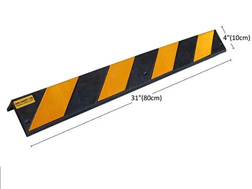 SNS SAFETY LTD RCG-131x2 Protectores de goma para esquinas, grosor de 8 mm, para aparcamientos y almacenes, color negro y amarillo, dimensiones 80 x 10 x 10 cm (paquete de 2 piezas)