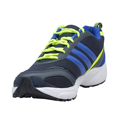 Adidas Men's Imba Navy Blue and Lime Green Running Shoes - UK 11
