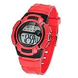 Jungen Digitaluhren, Kinder Uhr Mädchen Jungenuhr Wasserdicht 3ATM Sportuhren Digitale Kinderuhr Armbanduhr Uhr mit Wecker/Stoppuhr, Datum & Woche und Kalender (Rot)
