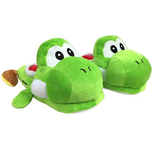 Carchet - Zapatillas de felpa para Niños y Adultos Unisex Pantuflas de Casa para Invierno - talla única 36-44 - Super Mario Yoshi color verde