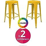 RegalosMiguel - Pack 2 Taburetes Industriales Torix Amarillas (Inspirado en la Línea Tolix)