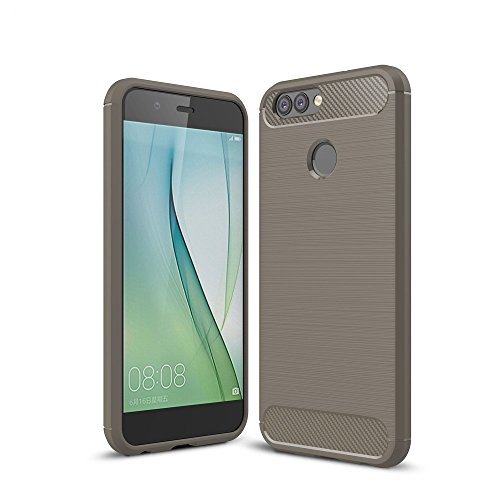 König-Shop Handy-Hülle für Huawei Nova 2 Plus Bumper Case Hülle aus TPU Silikon | Sturzsichere Back-Cover in Grau | Im Carbon Look