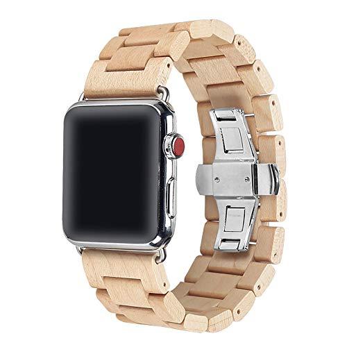 AIYIBEN 100% Umweltfreundlich Natürliche handgemachte Holz Armbanduhr Ersatzband Gurt Armband mit Adapter Doppel Faltschließe Buckle für iWatch Armbanduhr (42/44mm Ahorn) -