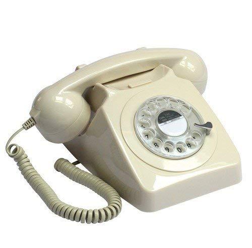 Protelx Rotary Ivy - Teléfono Fijo analógico, Crema (Importado)