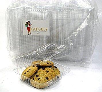 katgely Extra klarem Quadratische Cookie Container, Tortenheber Container, 160Stück, plastik, farblos, Medium Square Cookie Container Pack 50 (Klare Kunststoff-klappbare Container)