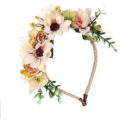 JZK flores corona de flores diadema tiara guirnalda flor pelo cabeza hairband guirnalda headpiece para boda novia dama honor flor chica prom cumpleaño fiesta party viaje fotografía, beige blanco
