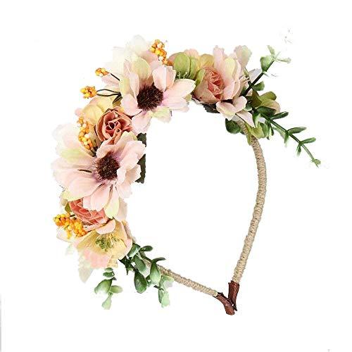 JZK Beige blanco flores corona diadema tiara guirnalda
