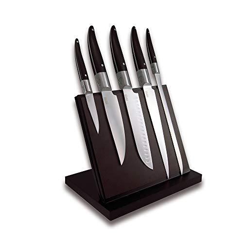 Laguiole Expression® - Bloc Aimanté de 5 Couteaux de cuisine - Couteau d'office + couteau de cuisine + santoku + couteau de chef + couteau à jambon - Acier inoxydable - Manche Pom