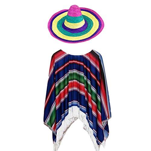 Amosfun 1 Satz Kinder Jungen Mädchen Mexikanischer Strohhut Kleidung Anzug Hawaii Kostüm für Hawaiian Mexican Party Costume Favors (Jungen Hawaii Kostüm)